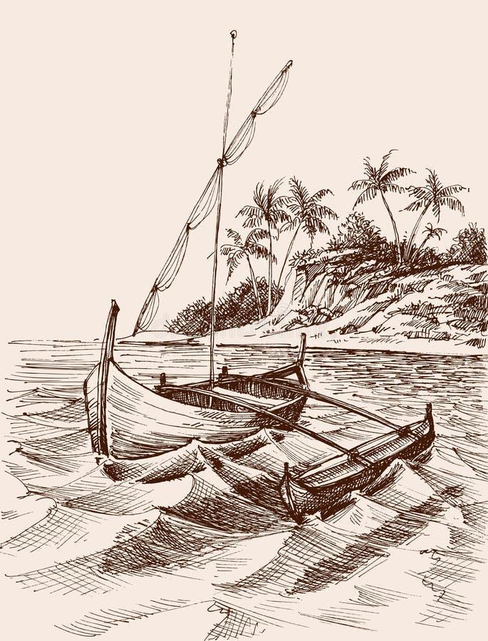 Free Marina Drawing. Fishing Boat On Shore Royalty Free Stock Photography - 120305917