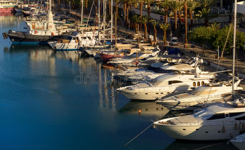 Marina in Eilat on the Red Sea coast royalty free stock images