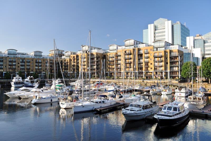 Marina, flats St Katharine Dock London, England royalty free stock photos