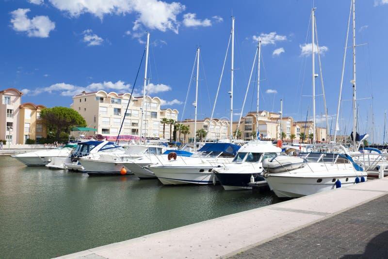 Marina Gruissan w południowy Francja obraz stock