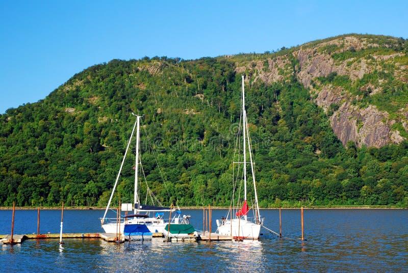 Marina in the Highlands. Small sailboats docked near the Hudson Highlands stock photography