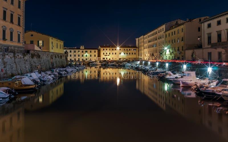 Marina in the historic center of Livorno at night, Tuscany, Italy. Beautiful view of the Marina in the historic center of Livorno at night, Tuscany, Italy royalty free stock images