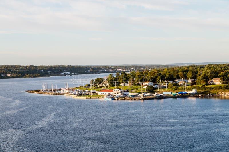 Marina and Homes on Shore of Sydney Nova Scotia stock photography