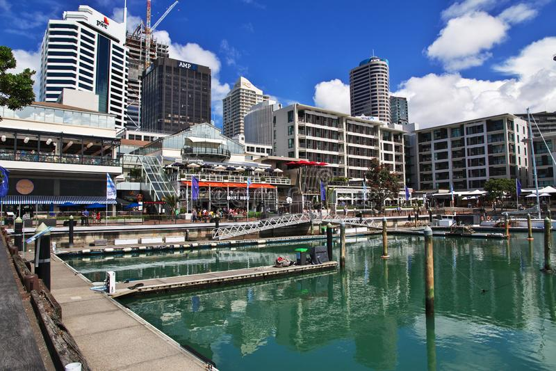 Marina i den Auckland staden i Nya Zeeland royaltyfria foton