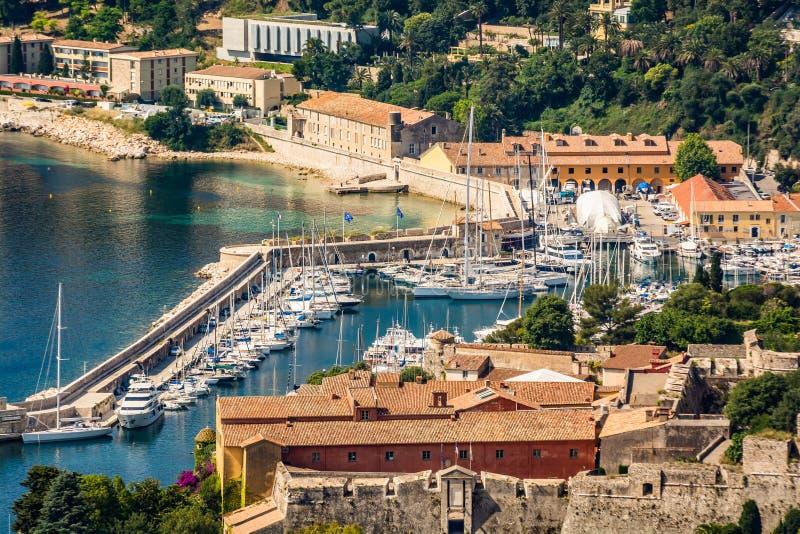 Marina i medelhavet nära Nice arkivbild
