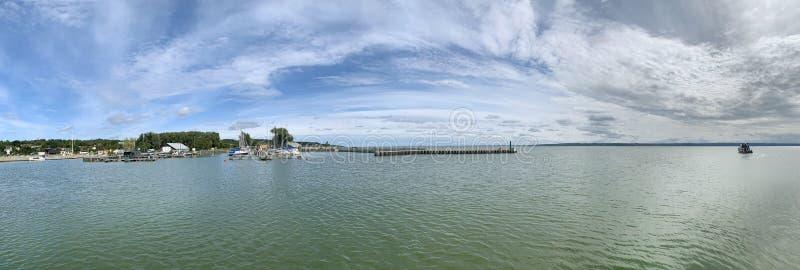Marina in Krynica Morska, Vistula Lagoon, Polen arkivbilder