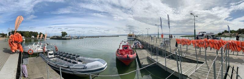 Marina in Krynica Morska, Weichsel Lagoon, Polen lizenzfreies stockfoto