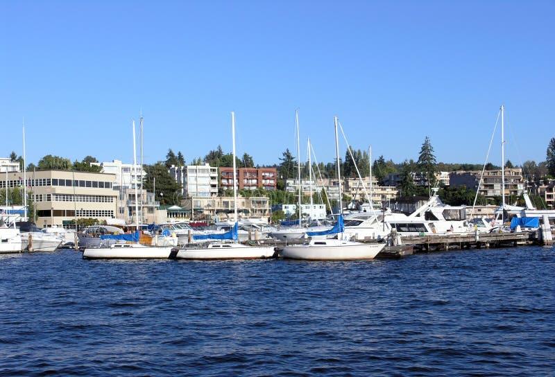 Marina on Lake Washington stock photo