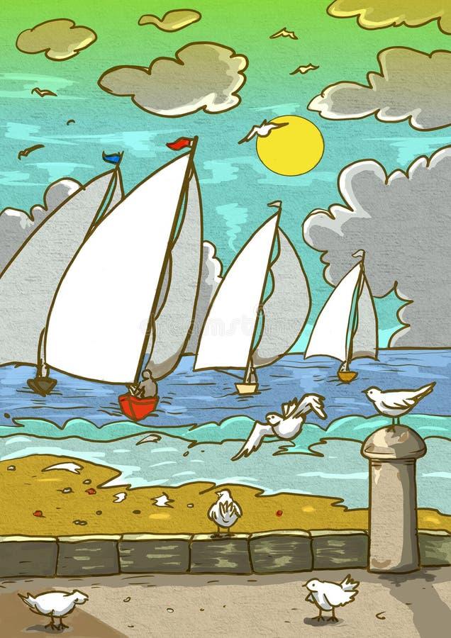 Marina landskap sjögräs i förgrunden i bakgrunden en regatta av segelbåtar molnig himmel illustration stock illustrationer