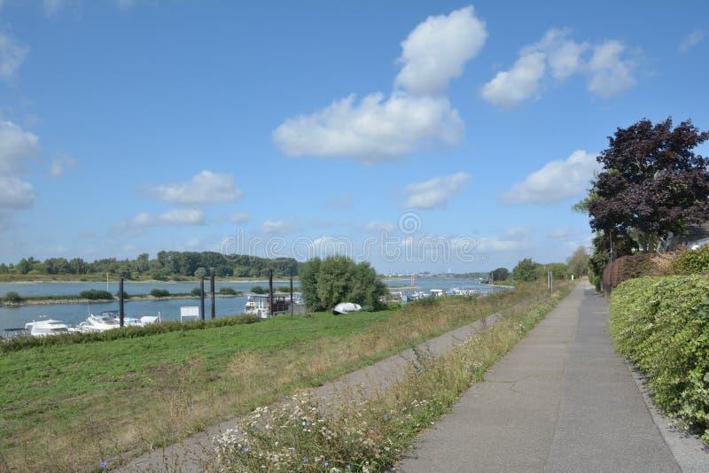 Marina of Leverkusen Hitdorf,Rhen River, Tyskland royaltyfria foton