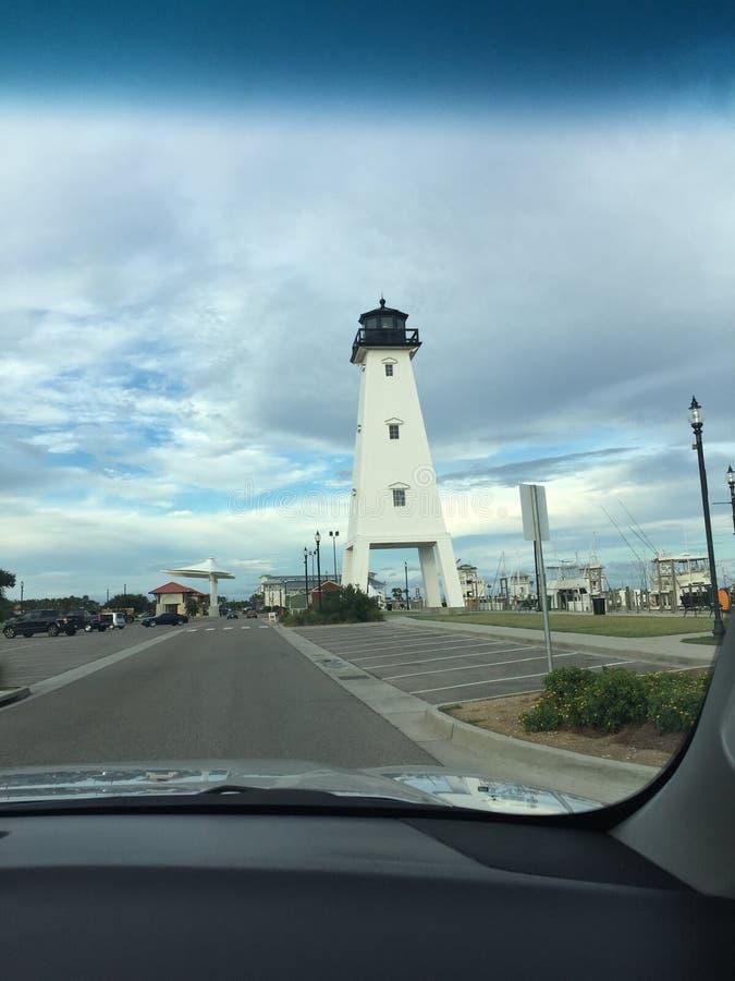 Marina lighthouse in gulfport royalty free stock photo
