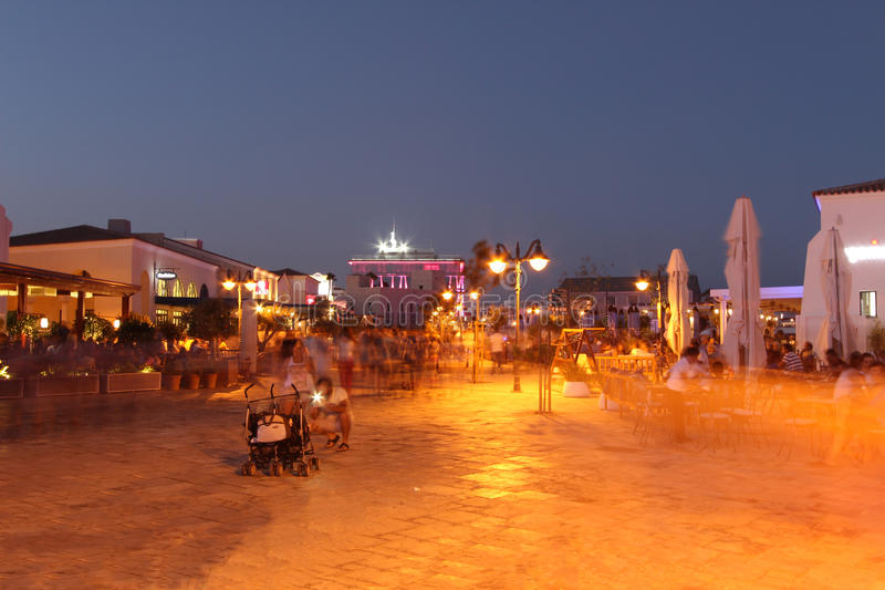 Marina in Limassol by night stock photography
