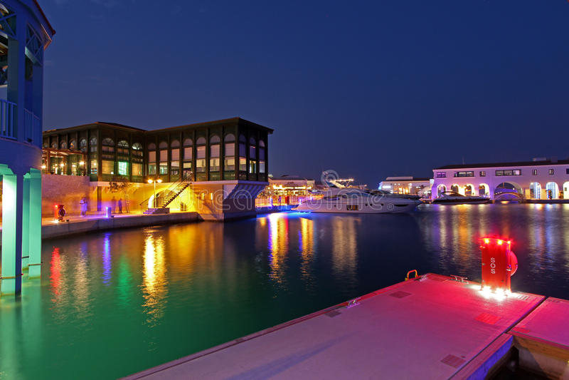 Marina in Limassol by night royalty free stock photos