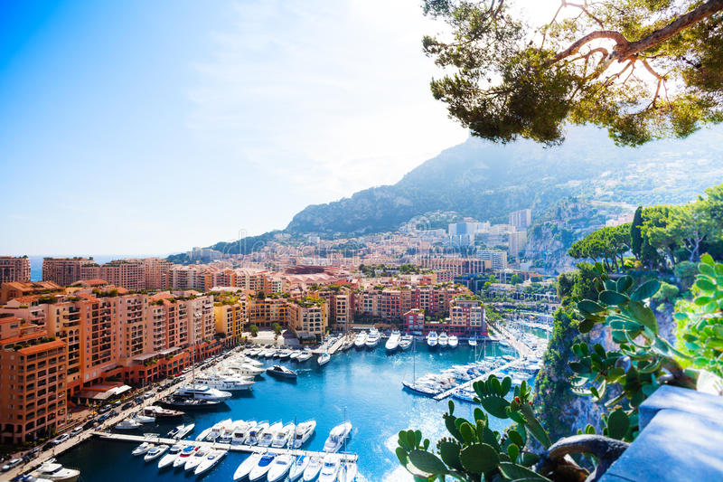 Marina in Monaco city. Marina and luxury yacht in Monaco city, tiny little country in Mediterranean Europe royalty free stock image