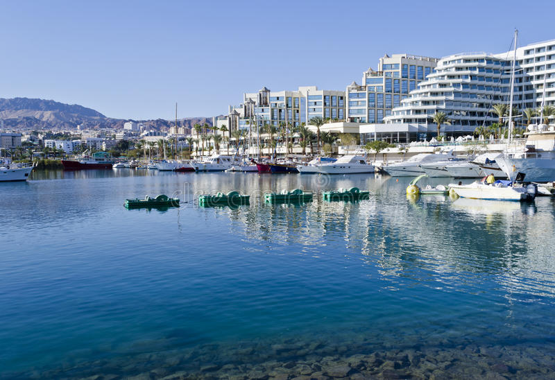 Marina with moored boats and yachts, Eilat. The shot was taken in Eilat - a famous resort city of Israel royalty free stock photo