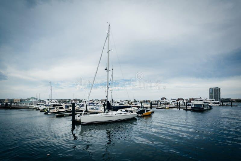 Marina na Charles rzece w Charlestown, Boston, Massachuset obraz royalty free