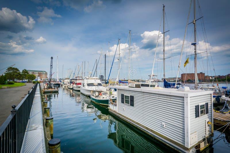 Marina na Charles rzece w Charlestown, Boston, Massachuset obrazy royalty free