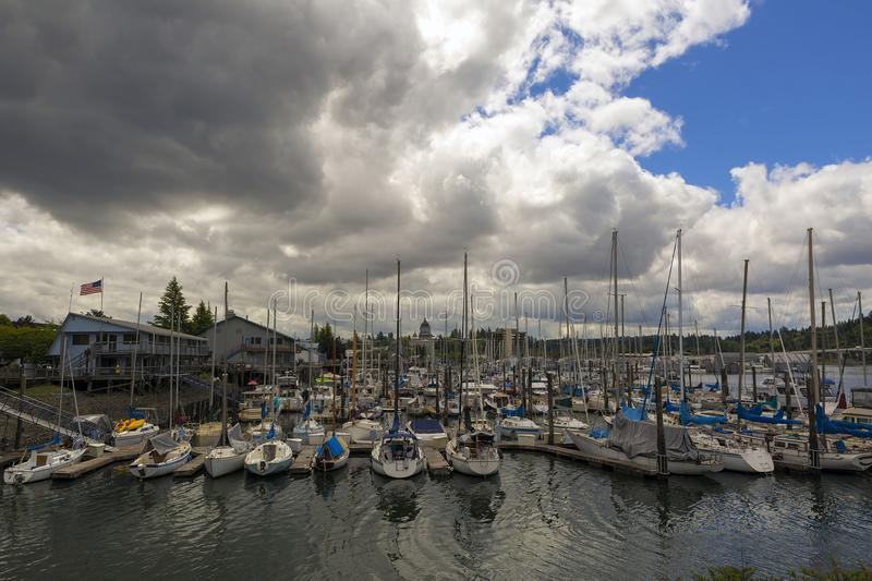 Marina in Olympia Washington Waterfront. Marina in Olympia Washington State by Capitol building on a cloudy day royalty free stock images