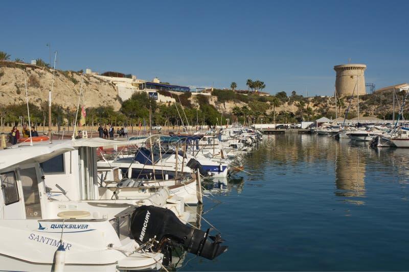 Marina på El Campello, Spanien royaltyfria bilder