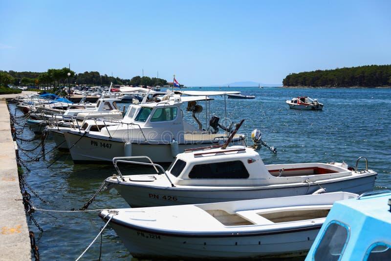 Marina pełno łodzie w Adriatyckim morzu w lecie, Chorwacja obraz stock