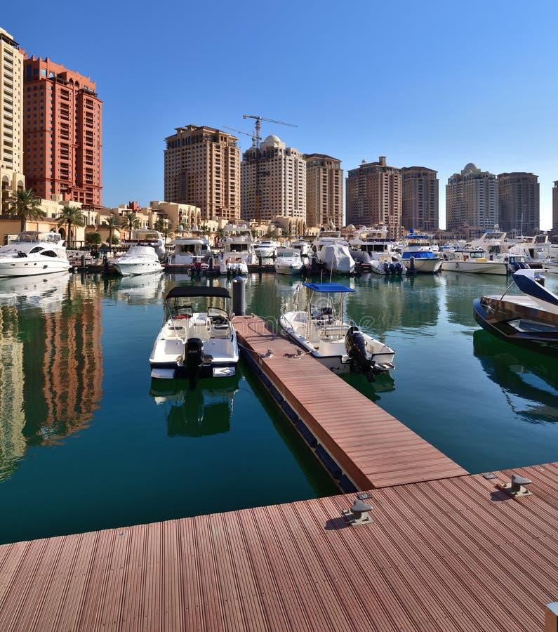 Marina on the Pearl Island in Doha, Qatar. A Marina on the Pearl Island in Doha, Qatar stock image