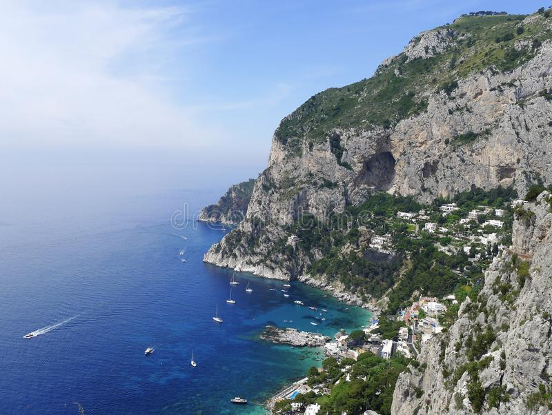 Marina Piccola, Capri, Italy. View of Marina Piccola bay in the island of Capri, Italy royalty free stock image