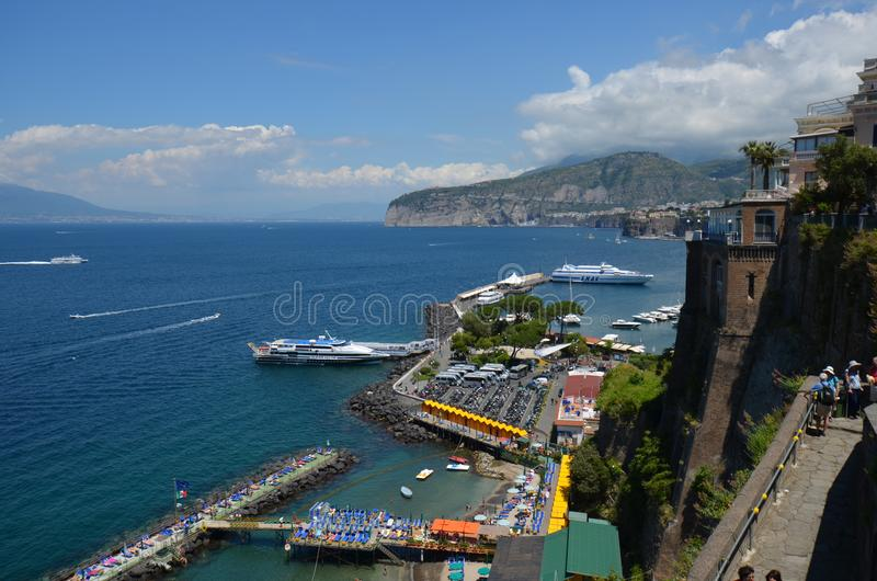 Marina Piccola, sea, coast, waterway, promontory. Marina Piccola is sea, promontory and water transportation. That marvel has coast, sky and water and that royalty free stock photos