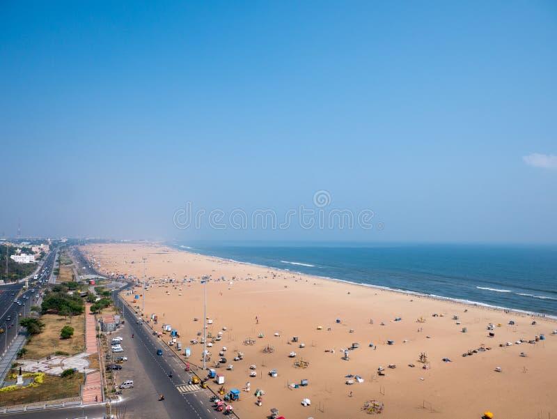Marina plaża w Chennai mieście, obrazy stock
