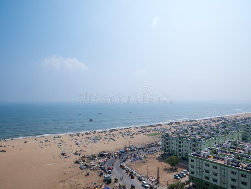 Marina plaża w Chennai mieście, India obrazy royalty free