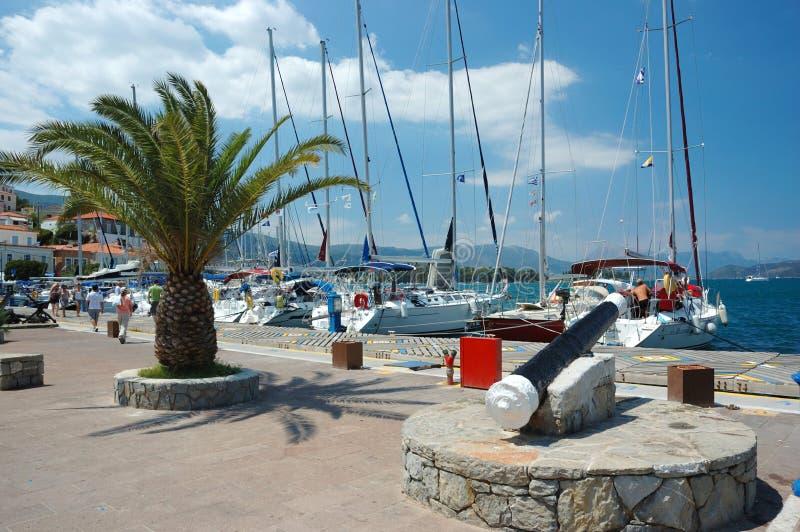 Marina at Poros island, Aegean sea,Greece stock photo