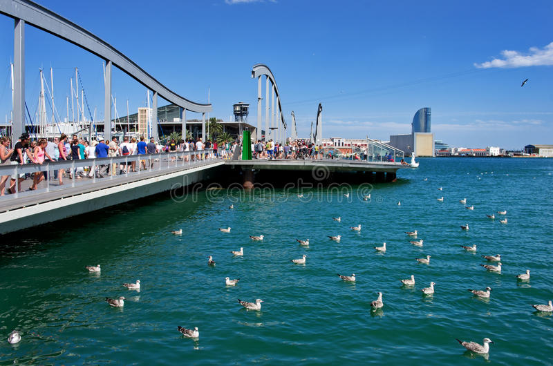 Marina Port Vell i Barcelona, Catalonia, Spanien royaltyfri bild
