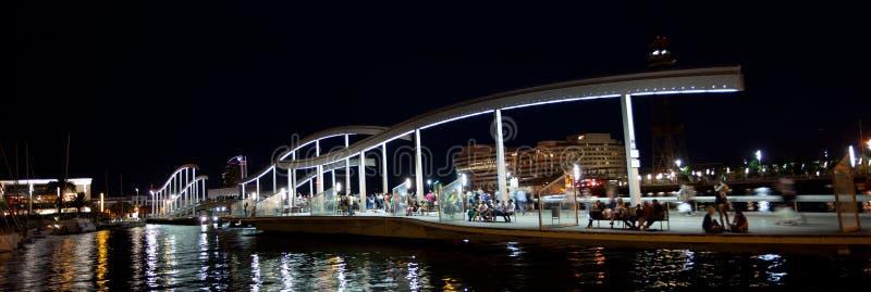 Marina Port Vell och Ramblaen Del Mar i Barcelona arkivbild