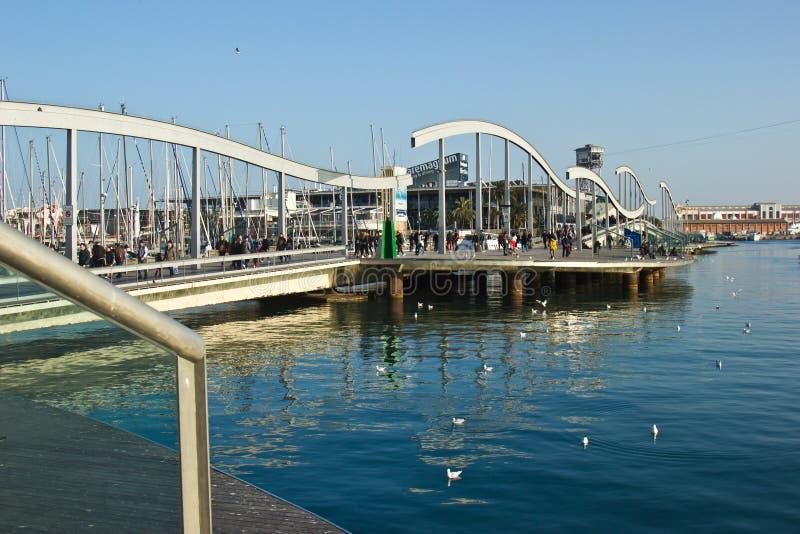 Marina Port Vell och Ramblaen Del Mar i Barcelona royaltyfria foton
