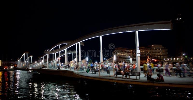 Marina Port Vell und der Rambla Del Mar in Barcelona stockfotografie