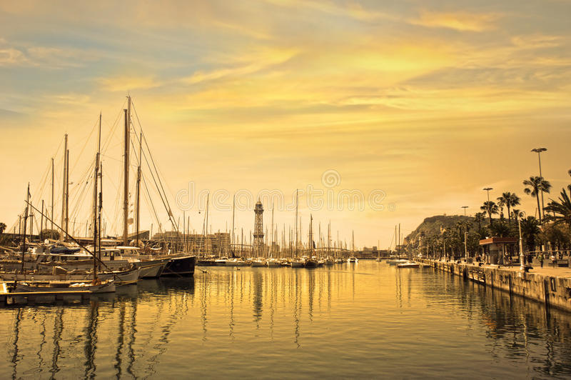 Marina port with yachts in Barcelona at sunrise. Spain royalty free stock photography