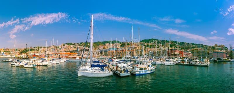 Marina Porto Antico Genova, Genoa, Italy. Panorama of marina Porto Antico Genova, where many sailboats and yachts are moored, Genoa, Italy royalty free stock image