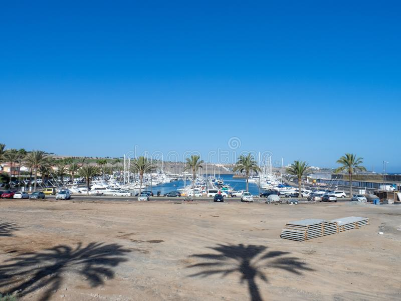 Marina in Puerto Rico de Gran Canaria. Gran Canaria/Spain - August 13 2019: Puerto Rico de Gran Canaria is a holiday resort situated on the south-west coast of stock images