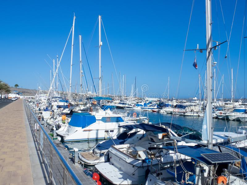 Marina in Puerto Rico de Gran Canaria. Gran Canaria/Spain - August 13 2019: Puerto Rico de Gran Canaria is a holiday resort situated on the south-west coast of stock photos