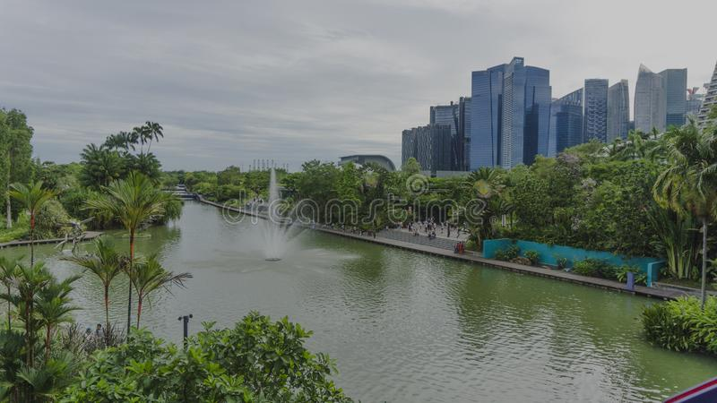 Marina Reservoir, opinião do lago em Singapura imagens de stock