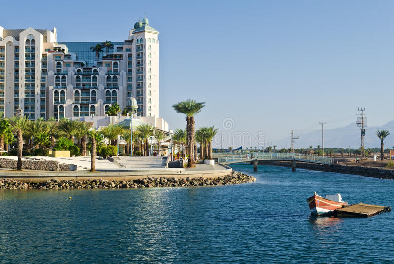 Marina and resort hotels in Eilat, Israel. Eilat is a famous resort and recreation city in Israel located on the Red Sea royalty free stock photos