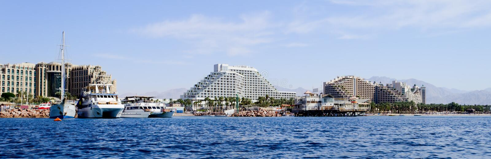 Marina and resort hotels in Eilat, Israel. Eilat is a famous resort and recreation city in Israel located on the Red Sea royalty free stock photo