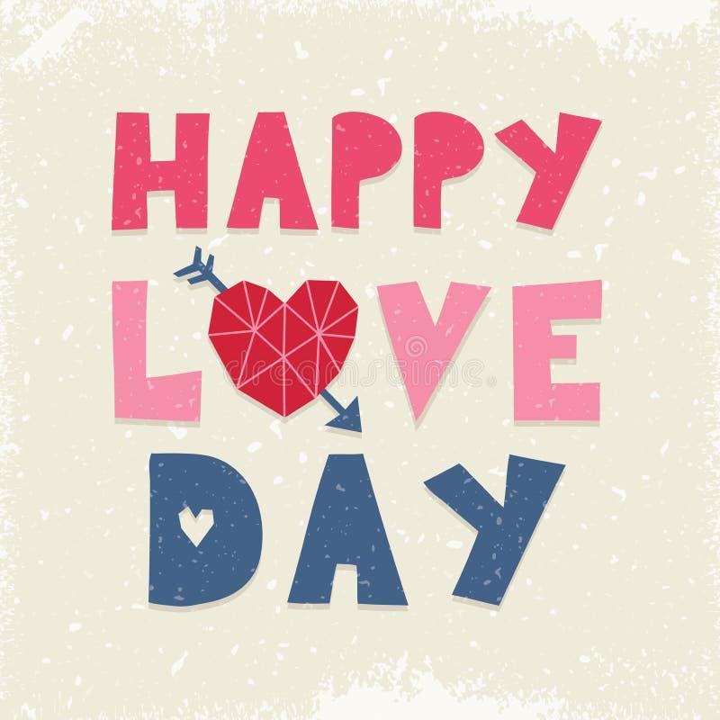Marina rosa crema di amore di giorno di tipografia felice sveglia della carta illustrazione vettoriale