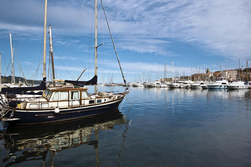 Marina in Saint Florent in Corsica royalty free stock image