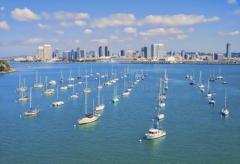 Marina and San Diego Skyline, California stock photography