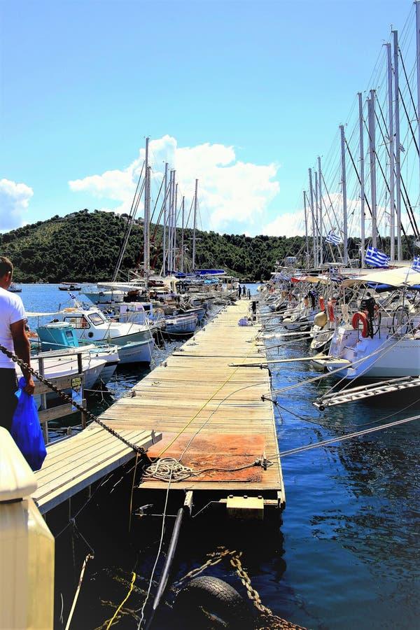 Marina, Skiathos Town, Greece. Skiathos, Greece. June 20, 2014. The Marina in the New port at Skiathos town on the Island of Skiathos in the Greek Islands stock photography