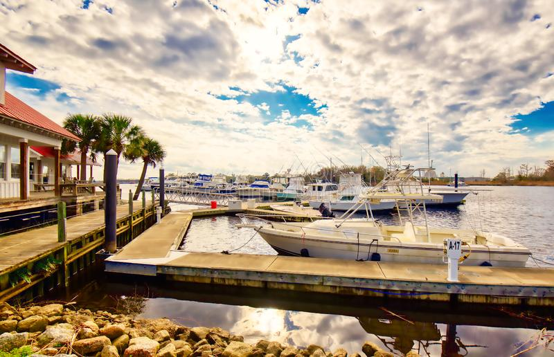 A marina with a stunning cloudy sky. stock images