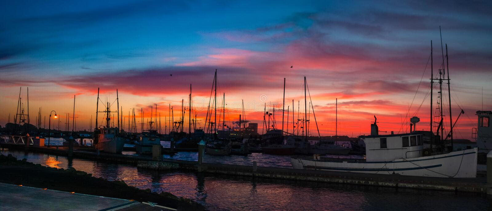 Humboldt Bay Marina Sunset royalty free stock photography