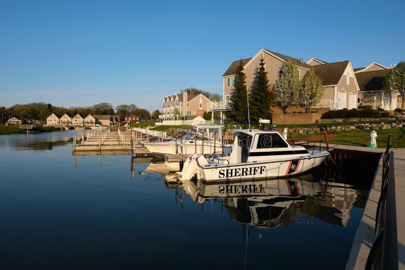 Marina sur le lac Huron au port Austin photos stock