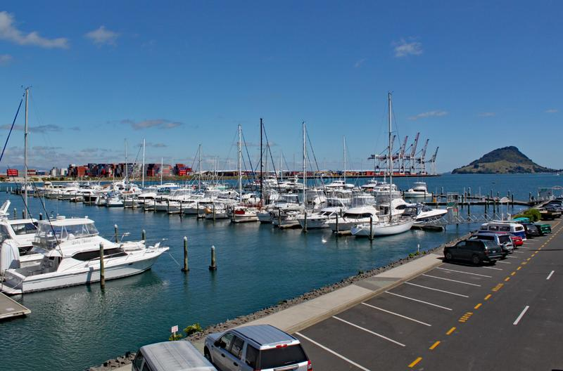 The marina at Tauranga in New Zealand with many yachts moored. Mount Maunganui can be seen in the background stock image