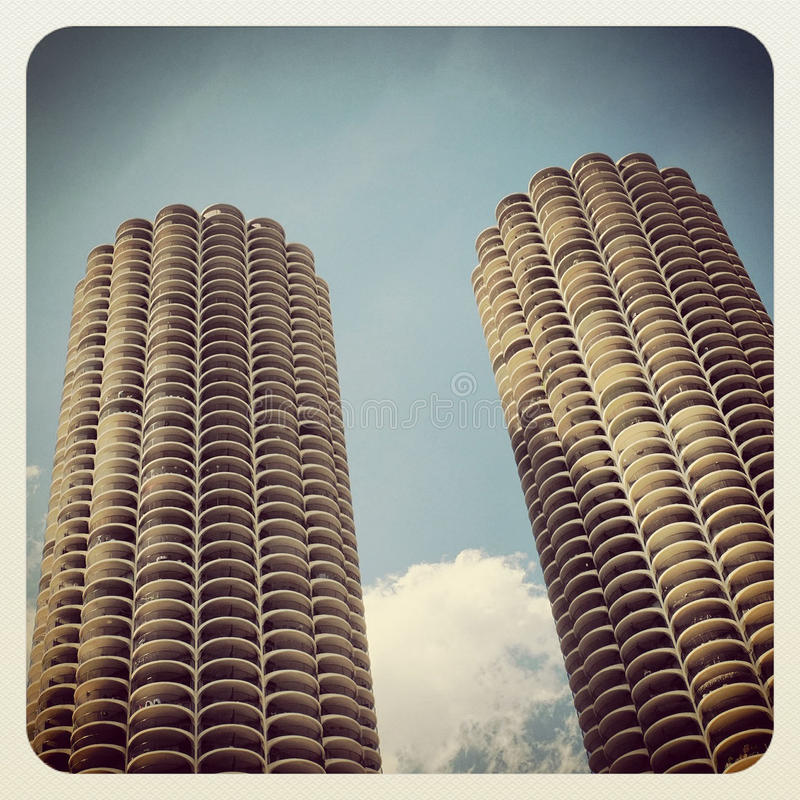 Marina Towers Chicago. The Marina Towers downtown Chicago stock photo